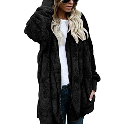 ThusFar Women Fuzzy Fleece Jacket Open Front Hooded Cardigan Coat Outwear Pockets at Women's Clothing store
