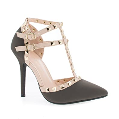 9c7921650b541 Amazon.com | Pointed Toe D'Orsay T-Strap Stiletto Heel Dress Sandals ...