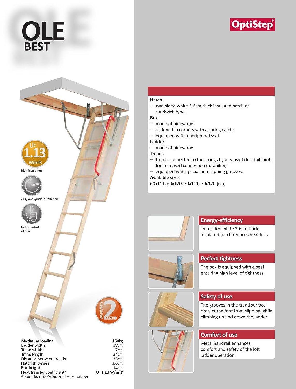 Optistep Timber aus Holz faltbar Dachbodenleiter Dachboden Treppen ...
