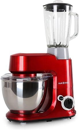 KLARSTEIN Carina Rossa Set Robot de Cocina multifunción con batidora de Vaso de 1,5L (800W, 4 L, 6 Niveles, Monta claras, amasadora, mezcladora, Tapa Extraible, Seguridad) Rojo: Amazon.es: Electrónica