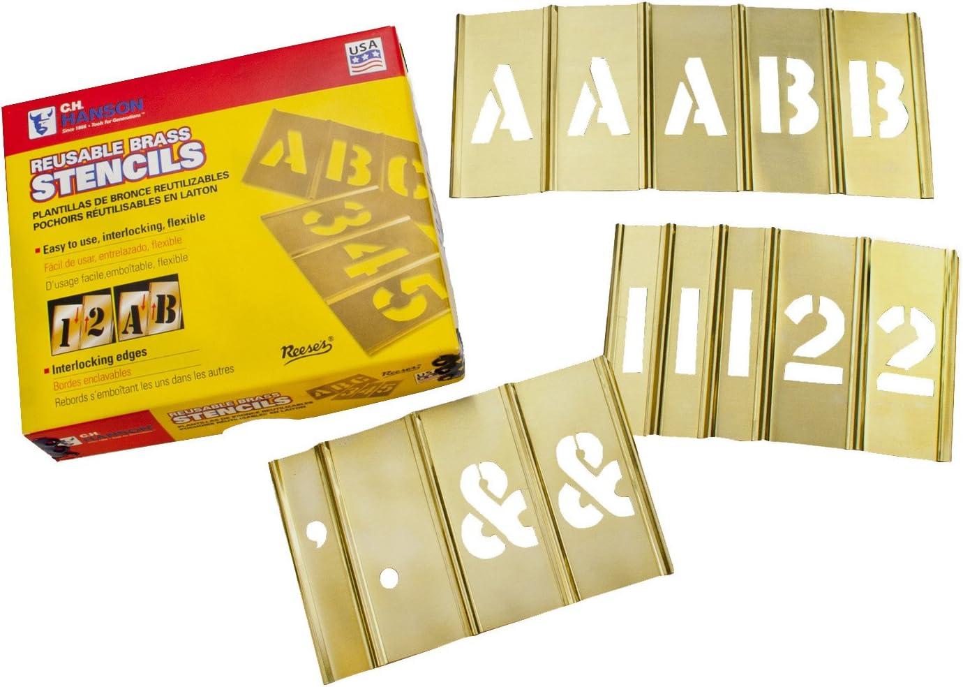 C.H. Hanson 10153 Brass Interlocking Stencil Letter & Number Set, 92 Pieces, 3 Inch