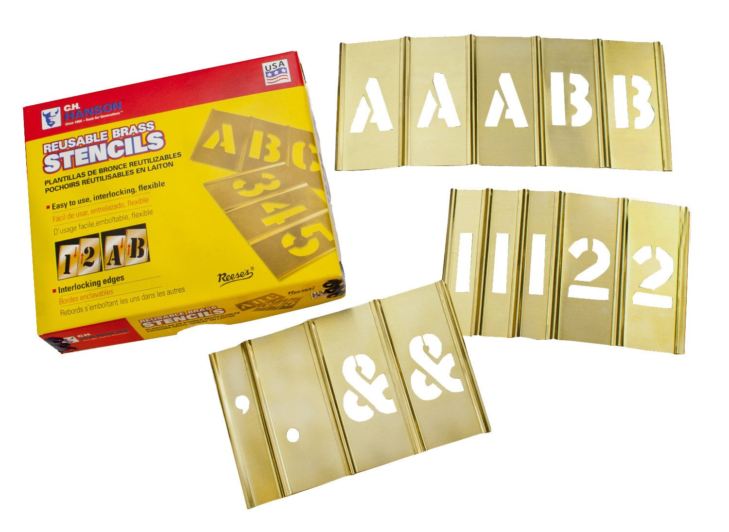 CH Hanson 10151 1 inch Brass Interlocking Stencil Letters and Number 45 Piece Set by CH Hanson