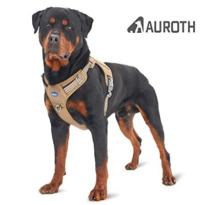 Auroth Tactical Dog Harness No Pulling Adjustable Pet Harness Reflective K9 Working Training Pet Vest Military Service Dog Harness Easy Control