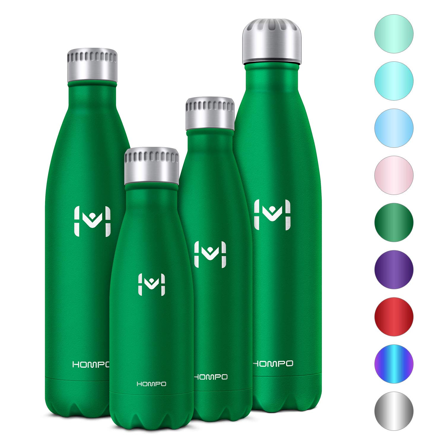 Silver Sports Hompo Stainless Steel Water Bottle 27 oz//750 ml BPA Free Vacuum Insulated Metal Reusable Water Bottle Double Walled Keeps Hot and Cold Leak Proof Drinks Bottle for Kids Gym