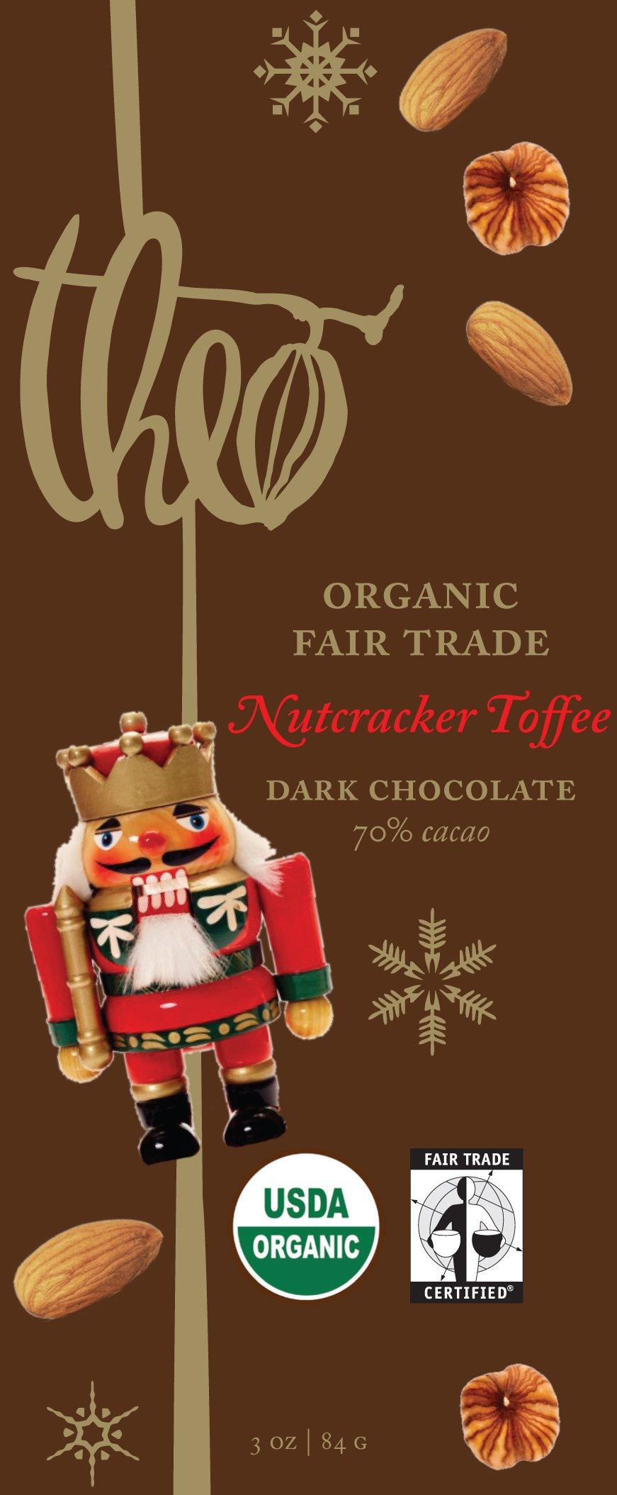 Theo Chocolate Nutcracker Toffee, Dark Chocolate 70% Cacao, 3-Ounce Bars (Pack of 12)