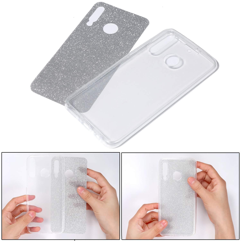 Uposao Kompatibel mit Huawei P30 Lite H/ülle 360 Grad Full Cover Kristall Bling Glitzer Durchsichtig Rundum-Schutz Beidseitiger Schutzh/ülle Komplett Handyh/ülle Silikon Case,Rose Gold