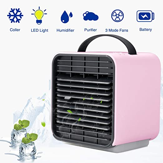 StillCool Air Conditioner Fan Portable Mini Air Cooling Desktop Fan Evaporative Air Circulatory Purifier Humidifier Cooler with Handle for Home Dorm Office Outdoors