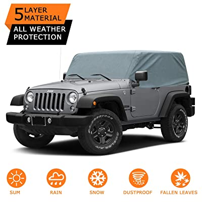 OOFIT 5 Layers Jeep Cab Cover Jeep Wrangler Unlimited 2 Door Car Cover, 100% UV Protection Breathable SUV Car Cover Fit 2007-2020 Models, Windproof Dustproof Scratch Proof: Automotive