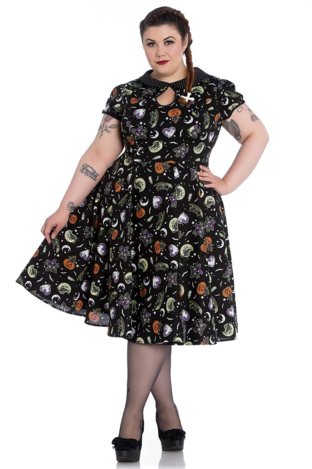 1950s Dresses, 50s Dresses | 1950s Style Dresses Hell Bunny Plus Size Gothic Halloween Black Cat Salem 50s Dress $80.99 AT vintagedancer.com