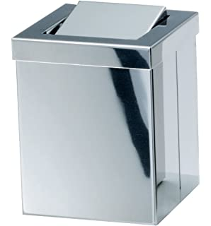 1eb7792af54 Walther Square Small Stainless Steel Wastebaske Trash Can W  Swing Lid. Trash  Can Waste