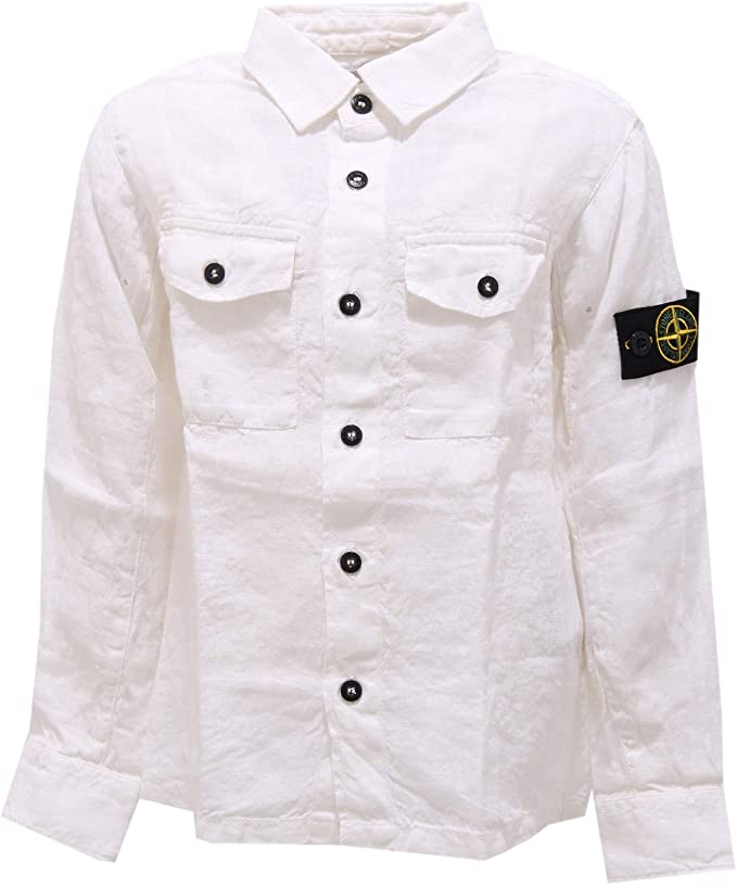 Stone Island 3419Z Camicia Bimbo Boy Junior Linen White Shirt Long ...