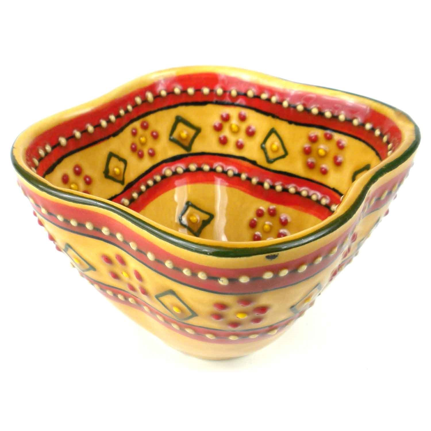 Hand-painted Dip Bowl in Red - Encantada Pottery