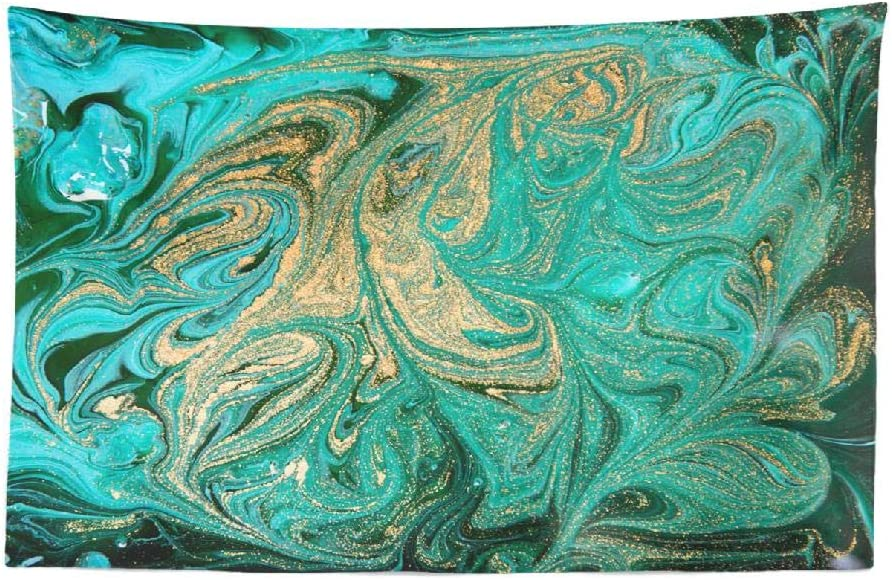 KUMAIN Marble Tapestry, Marble Abstract Acrylic Nature Green Marbling Artwork Texture 45x30 Inch Tapestry Wall Hanging Decor Decorative Tapestry Wall Art for Men Bedroom Dorm Decoration,Aqua Green