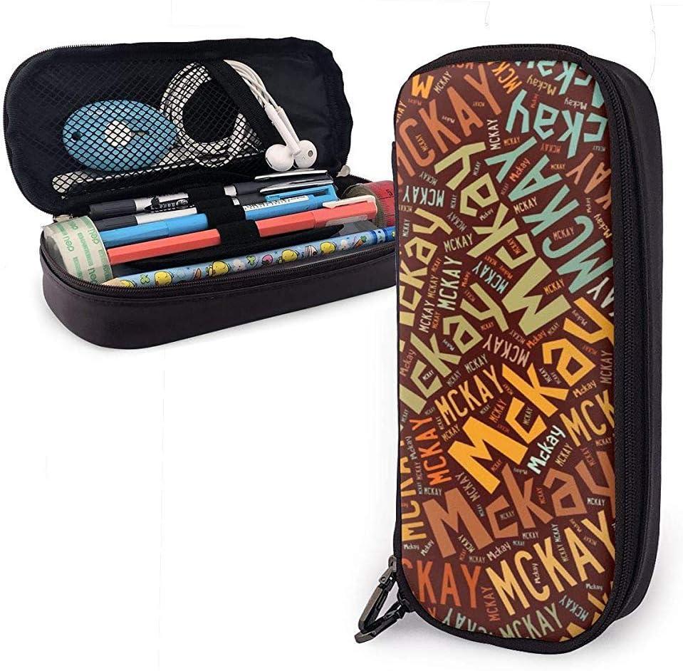 McKay American Apellido Estuche cuero alta capacidad Estuche lápices Estuche almacenamiento Estuche almacenamiento Organizador Bolígrafo maquillaje escolar Bolso cosméticos portátil
