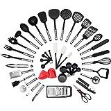 NEXGADGET 42-Piece Premium Cooking Utensils, Stainless Steel and Nylon Kitchen Utensils Set, FDA Approved Nonstick Kitchen Utensils with Spatula Kitchen Gadgets