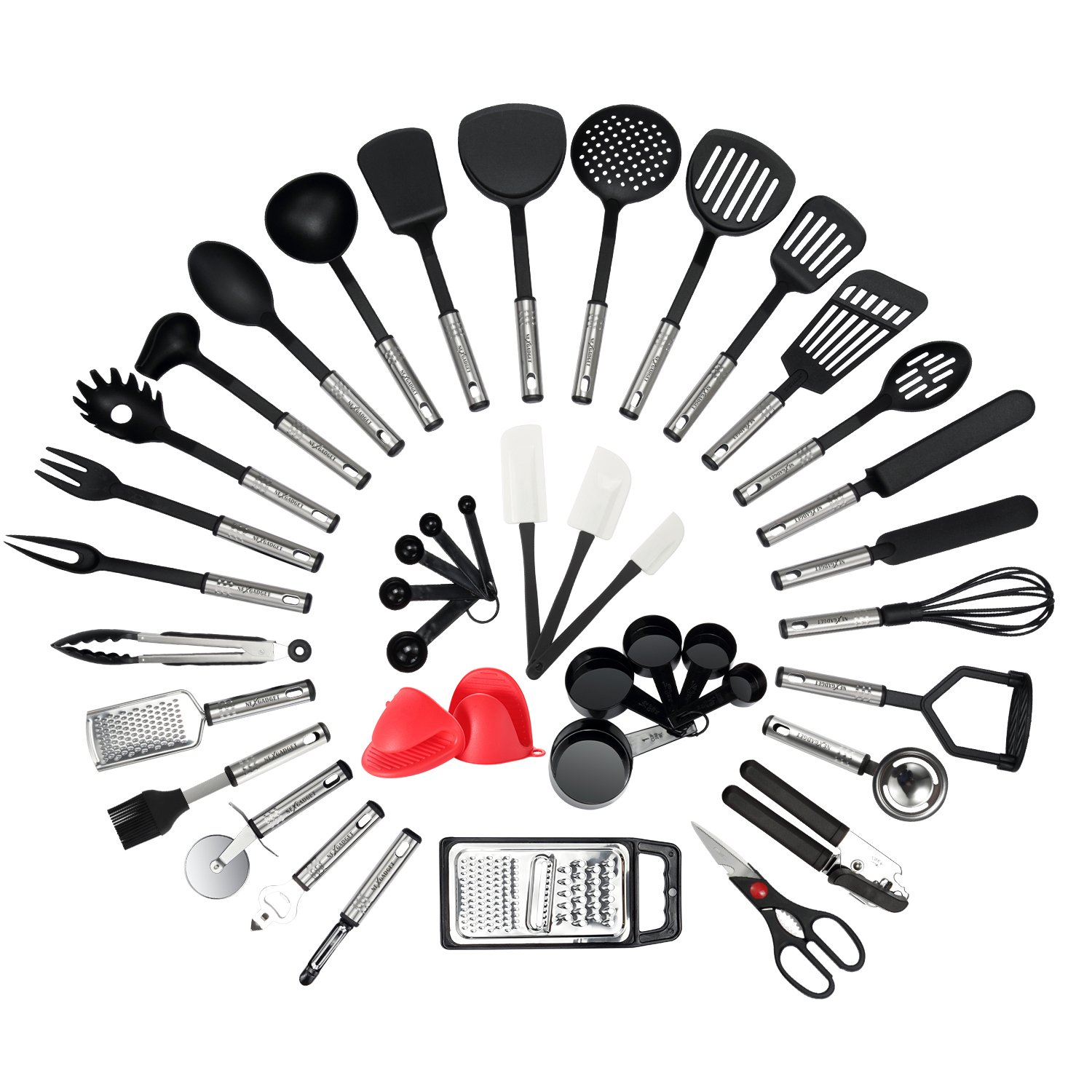 NexGadget Premium Kitchen Utensils 42 Pieces Kitchen Utensils Sets Stainless Steel And Nylon Cooking Tools Spoons, Turners, Tongs, Spatulas, Pizza Cutter, Whisk And More