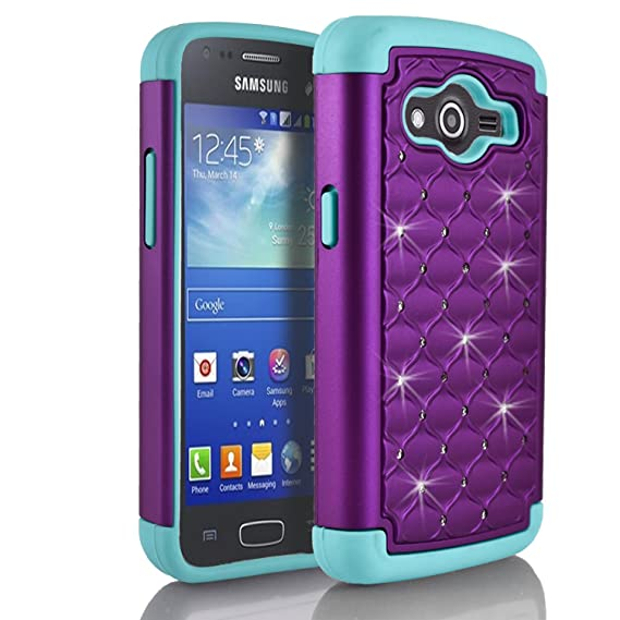 more photos c0462 a8451 Galaxy Grand Prime Case, Samsung Galaxy Grand Prime G5308 Case, Starshop  Slim Dual Layer Armor Phone Case Cover with Spot Diamond Teal/Purple