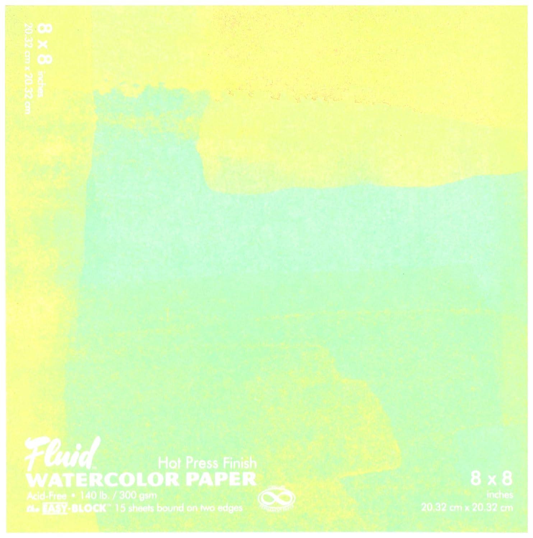 Fluid Watercolor Hot Press Block 8X8 Global Art AVI850088