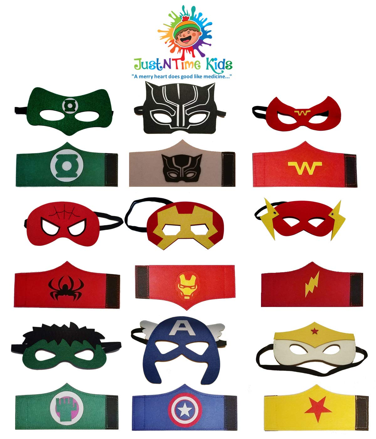 JustNTime Kids Superhero Party Mask & Bracelet Set | Includes the new Black Panther Super Hero | 9 Super heroes Comics Masks & 9 Bracelets are Great for Party Favors & Giveaways for Boys & Girls
