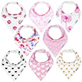 Amazon Price History for:KiddyStar Bandana Baby Drool Bibs for Girls, 8-Pack Bib Set for Drooling and Teething, 100% Organic Cotton, Soft and Absorbent, Baby Shower Gift for Newborn Babies and Toddlers