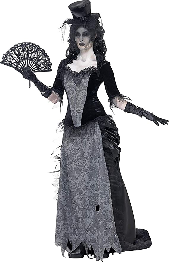 Victorian Costumes: Dresses, Saloon Girls, Southern Belle, Witch Smiffys Adult Womens Ghost Town Black Widow Costume Top Skirt and Hat Ghost Town Halloween Size: M 24575 £42.31 AT vintagedancer.com