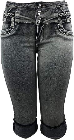 Amazon Com Deep Blue Jeans Pantalones Cortos Para Mujer Cintura Alta Elasticos Y Rizados Tela De Calidad Superior Color Negro Claro Lavado 39566hc Clothing