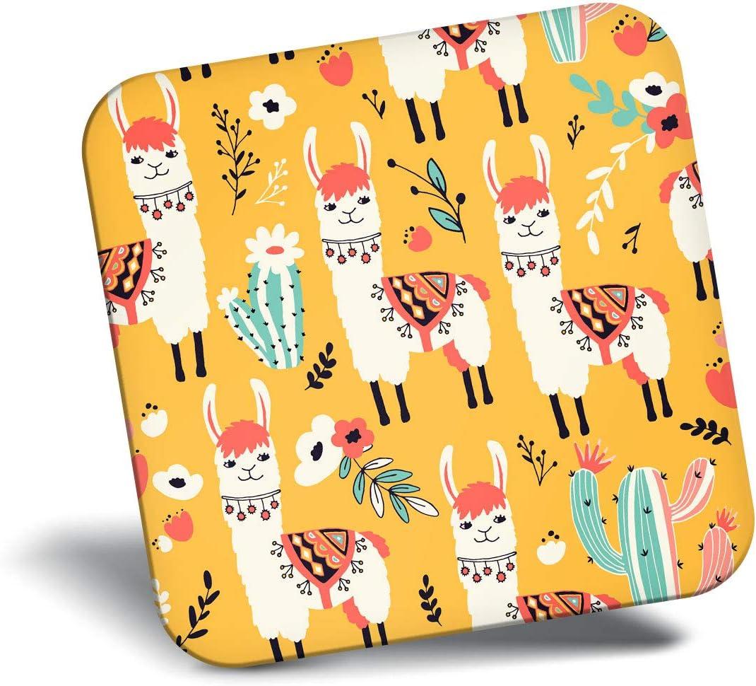 Destination Vinyl ltd Awesome Fridge Magnet - Yellow Llama Alpaca Cactus 2835