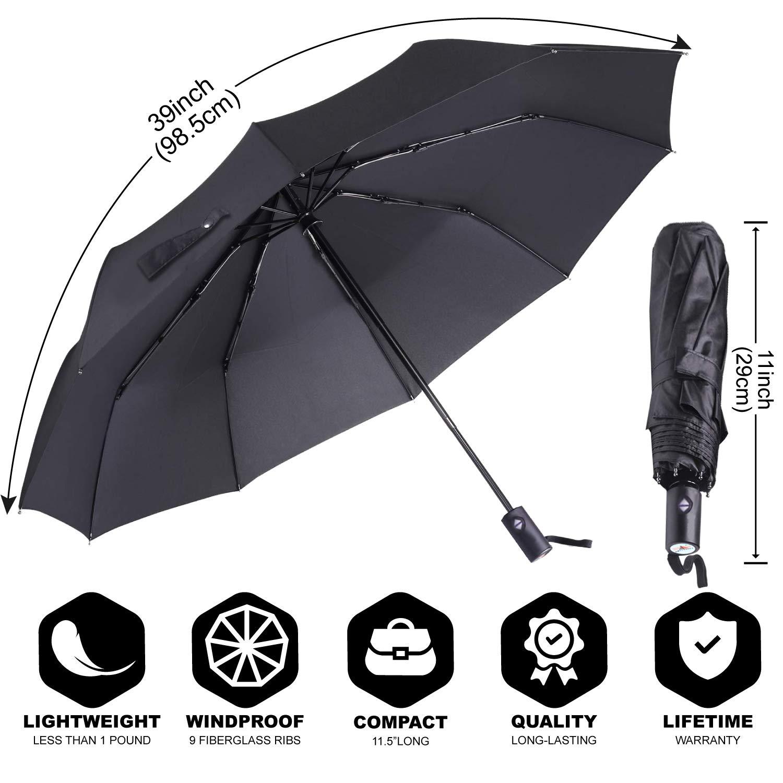 2 Pack Black ABCCANOPY Umbrella Compact Rain/&Wind Teflon Repellent Umbrellas Sun Protection with Black Glue Anti UV Coating Travel Auto Folding Umbrella Blocking UV 99.98/% Blocking UV 99.98/%