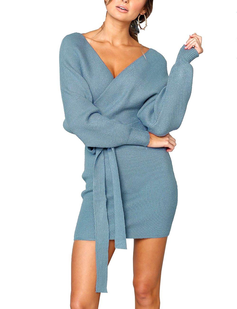 PRETTYGARDEN Women's Sexy Deep V Neck Batwing Long Sleeve Wrap Backless Elegant Bodycon Pencil Dresses with Belt (Blue, Medium)