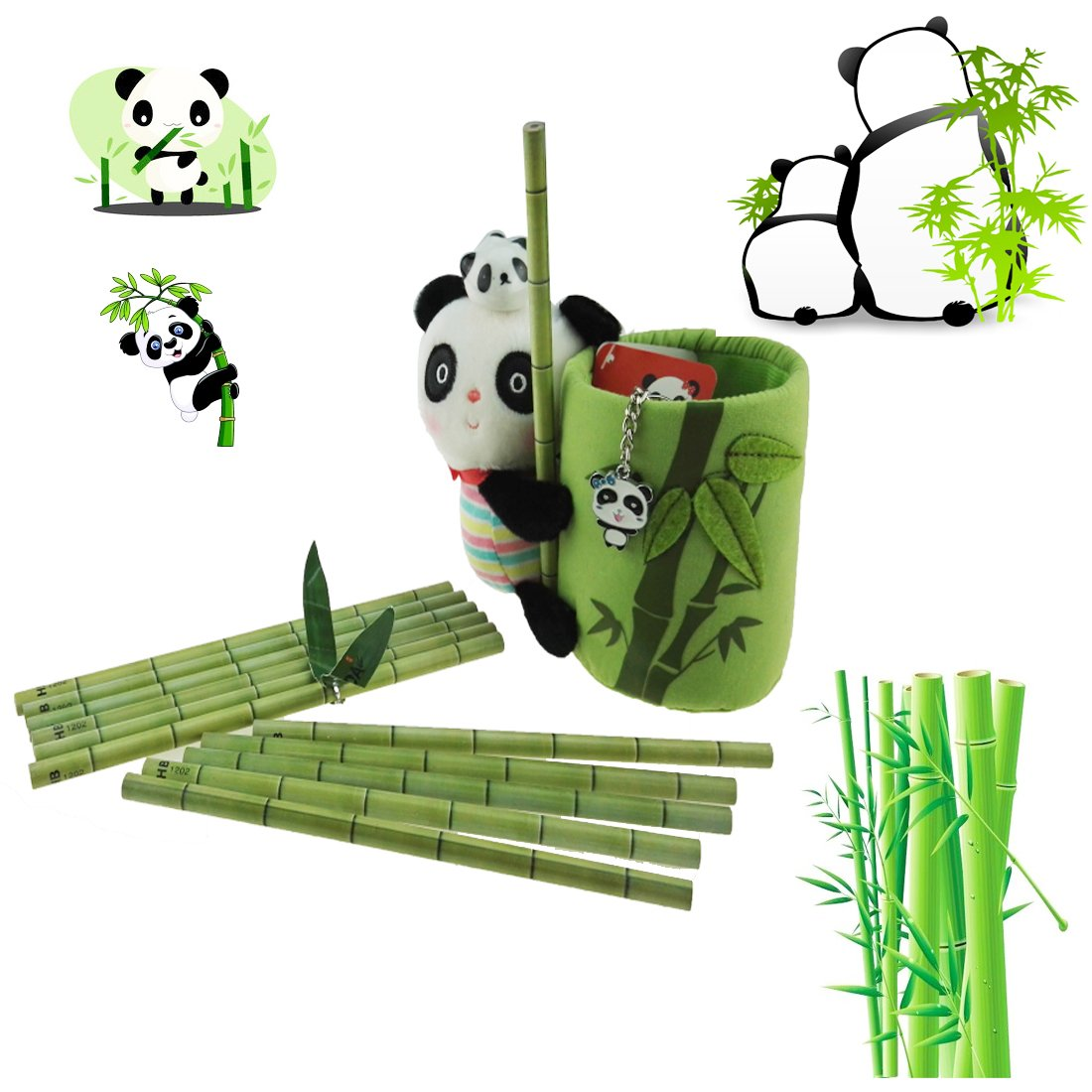 Panda and Bamboo Theme Stationery Set Include 12pcs Bamboo Pencils 1pc Pencil Holder 1pc panda Keychain 1pc Ceramic Panda Toy For Kids Study Gift