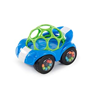 Bright Starts Oball Rattle & Roll Sports Race Car Toy Push and Go Vehicle, Easy Grasp, Ages 3 Months +