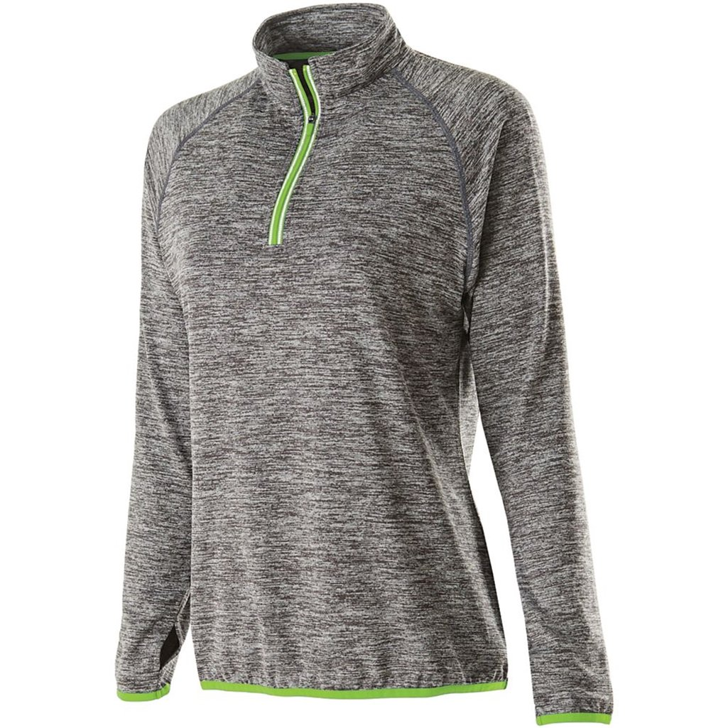 Holloway Ladies Force Training Top (Medium, Carbon Heather/Lime) by Holloway