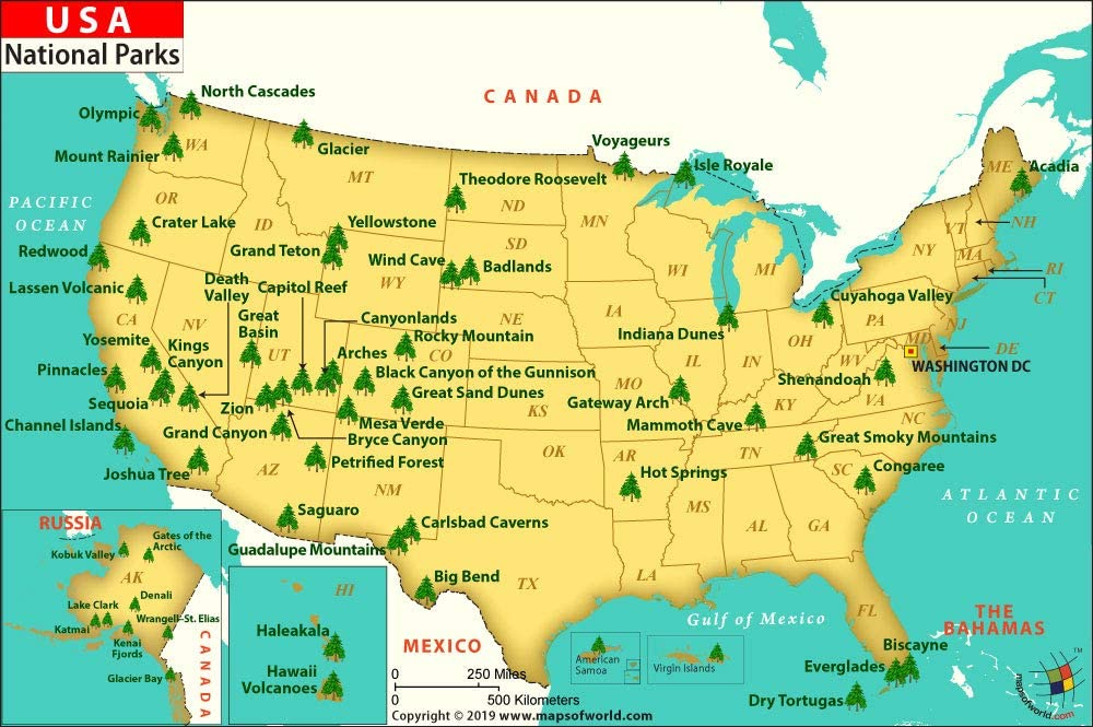 Map Of The National Parks In The Us Amazon.: USA National Park Map   Laminated (36