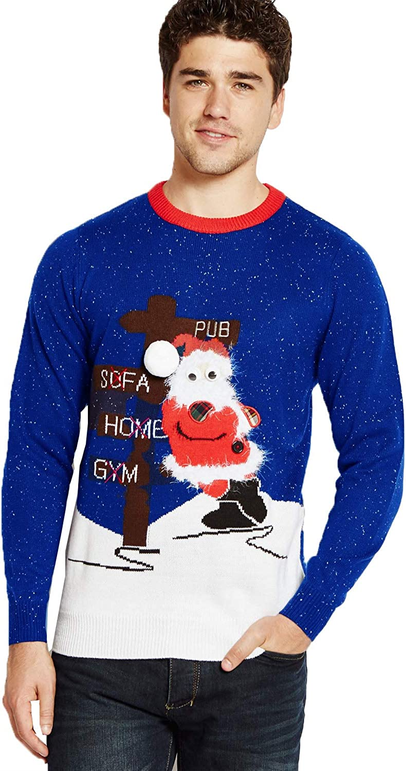 Adults Christmas Jumper Drunk Santa Mens Knitted Sweater Womens Festive Top