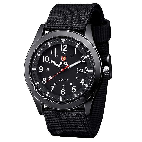 Zeiger Reloj Militar Deportivo con correa de nailon, reloj de pulsera, movimiento de cuarzo