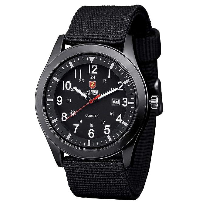 Reloj Zeiger con correa de tela negra