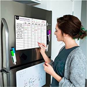 """Magnetic Dry Erase Chore Chart for Multiple Kids and Adults: Fridge 17x12"""" - Includes 6 Whiteboard Markers and Eraser with Magnets - Daily Responsibility Rewards White Board for Toddlers or Teenagers"""