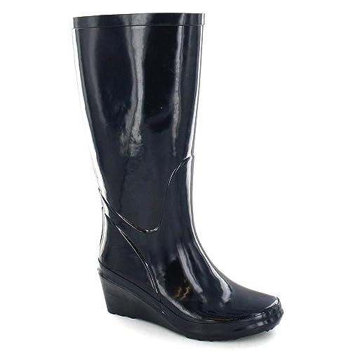 big sale eb181 59c74 Spot On - Stivali di Gomma con Tacco - Donna (40) (Blu Navy ...