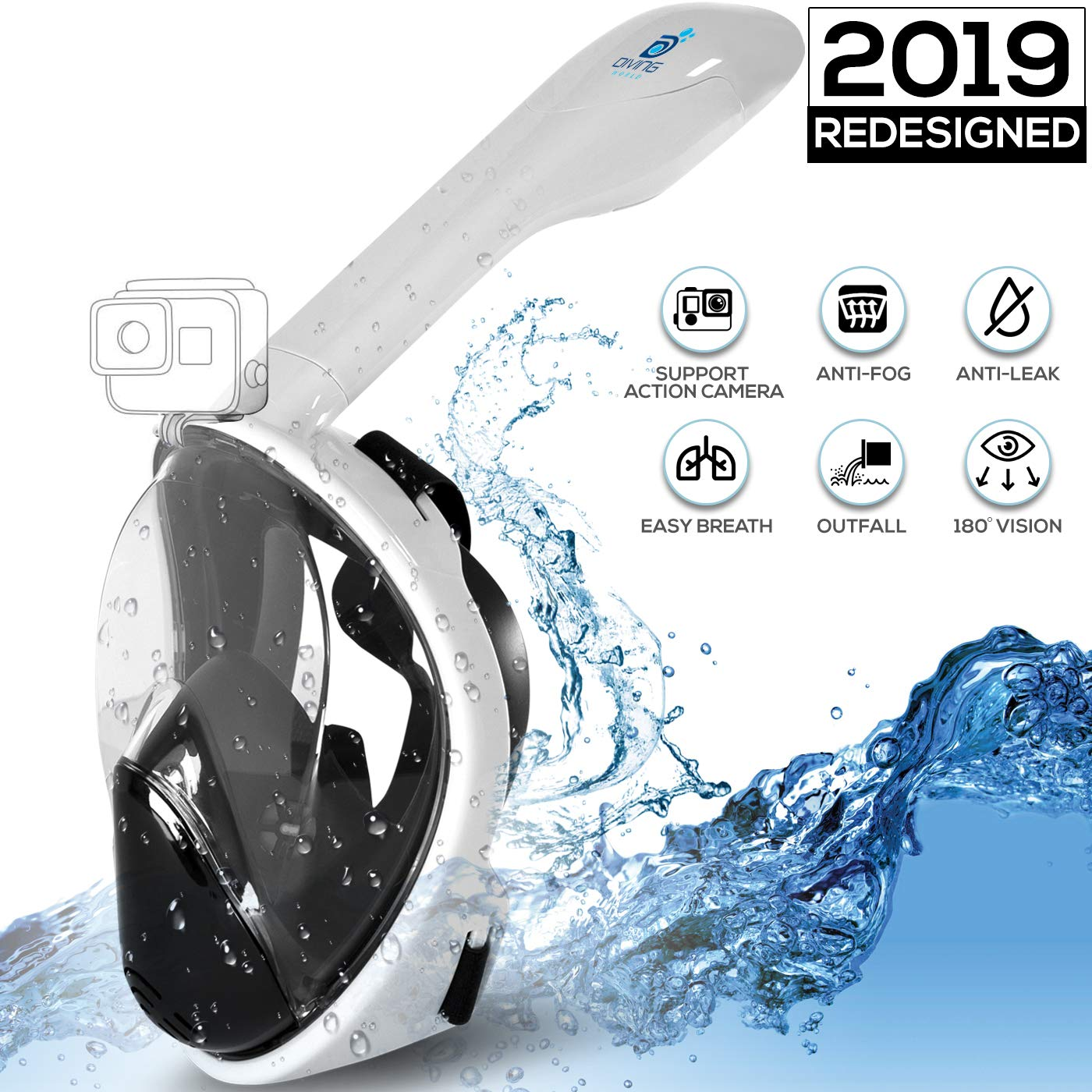 Full Face Snorkel Mask Set for Adults by Diving World - Re-Designed & Improved Masks - Incredible 180° Underwater Experience - Dry Top, Anti Fog Tech - Go Pro Camera Mount - Dive & Snorkel EBook by diving world