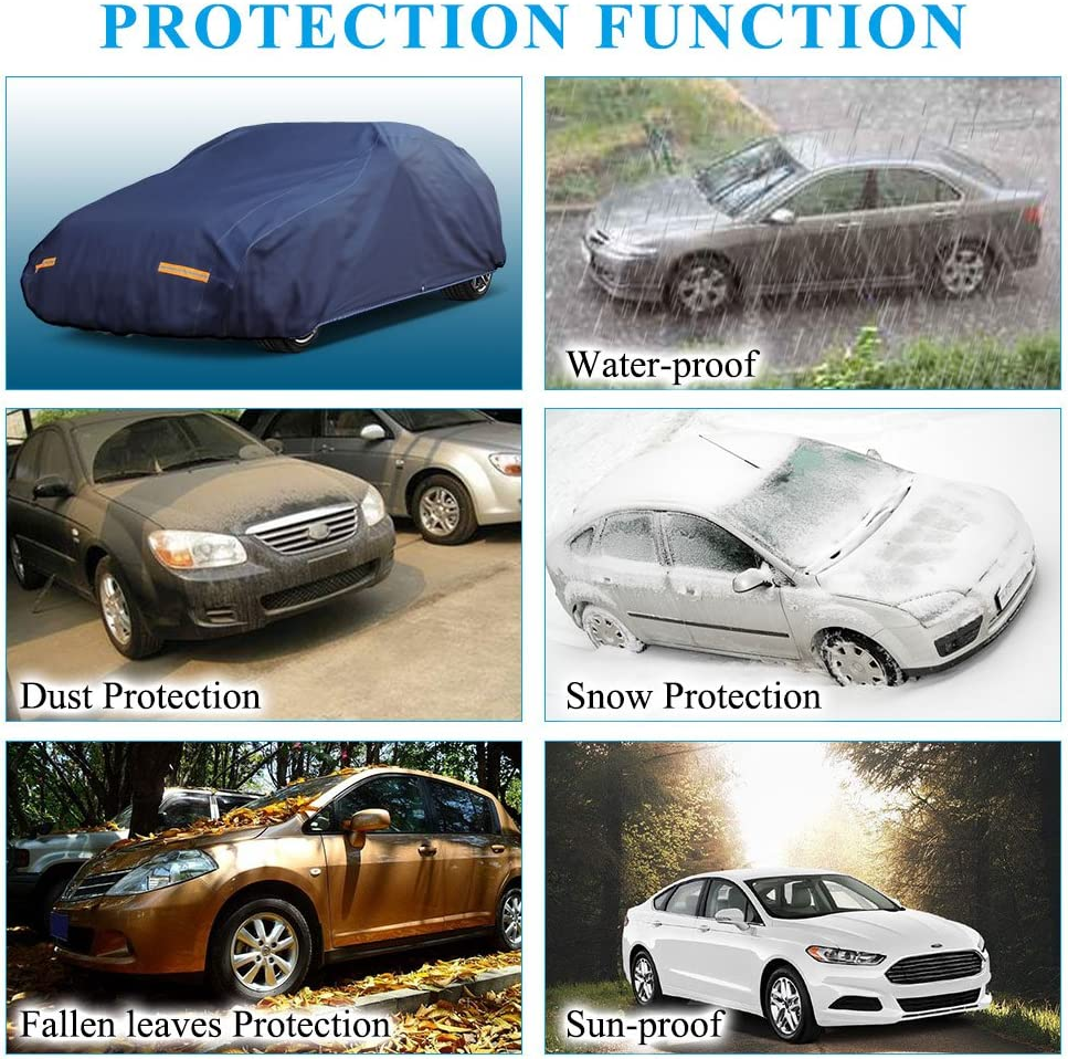Fits Sedans up to 200 L, 210D, Silver and Black YITAMOTOR Car Cover Driver Side with Zipper Universal Fit All Weather Waterproof Snowproof Dustproof Windproof Resistant Auto Outdoor Protection
