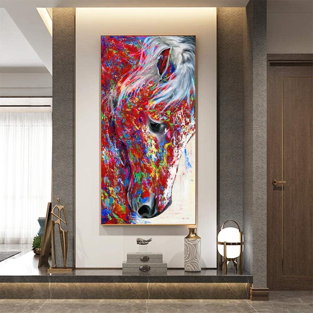 LLXHGGran Lienzo Pintura Cabeza De Caballo Pintura Al Óleo Animal Cuadros De Pared para Sala De Estar Pared Arte Impresión Carteles Decoración del Hogar-50X100Cm Sin Marco