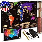 "Scratch off World Map + Scratch off USA Map Travel Poster | US States And World Country Flags Detailed In Large 30"" x 17…"