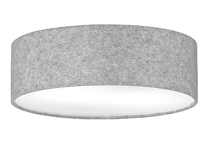Moderne Deckenleuchte BADER Mit LED Leuchtmittel, Schirm Filz Grau/weiße  Abdeckung, Ø 40