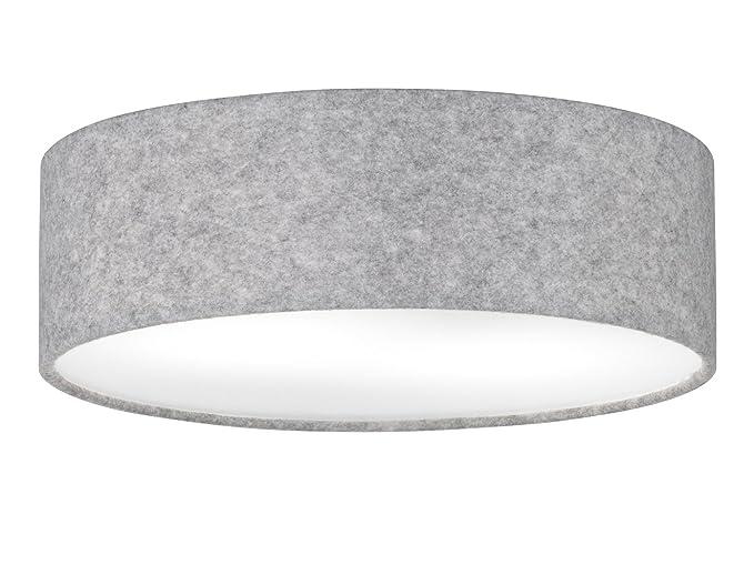 Moderna Lámpara de techo apropiadas con bombilla LED, pantalla Fieltro Gris/Blanca protectora,