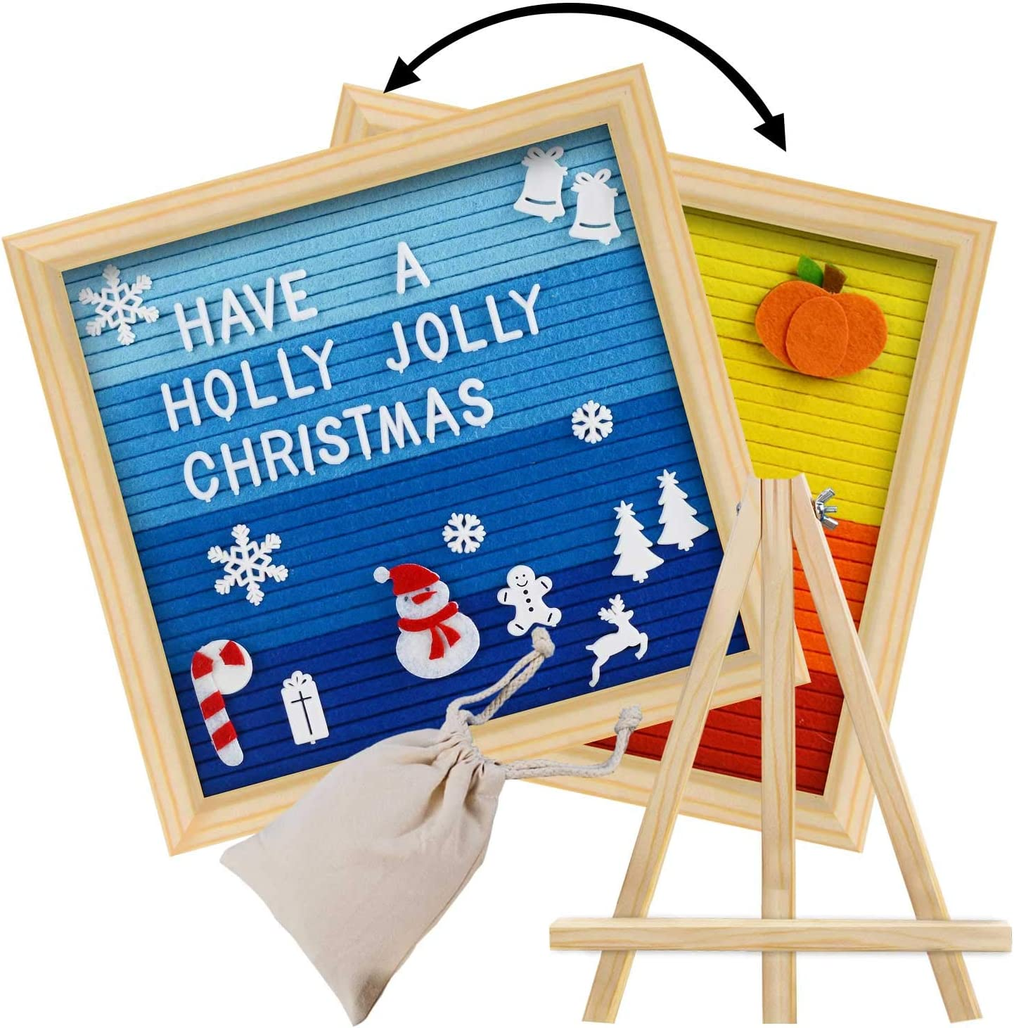 Write a Holidays Message for Thanksgiving /& Christmas Wall /& Tabletop Display Double Sided Letter Board with 450 White Letters,Months /& Days /& Extra Cursive Words Letter Bag