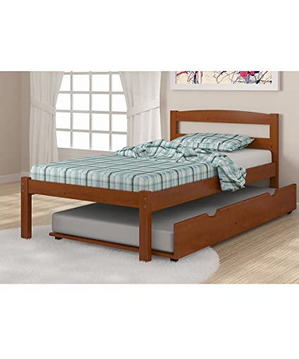 Amazoncom Solid Wood Espresso Twin Bed With Trundle Kitchen Dining