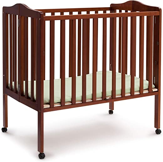 Delta Children Folding Portable Mini Baby Crib with 1.5-inch Mattress, Cherry