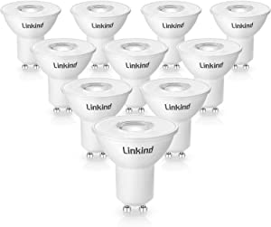 GU10 Dimmable LED Bulbs, Linkind 50w Halogen Lamps Equivalent, MR16 5W 530lm 3000k Soft White, UL Listed, Energy Star, Pack of 10