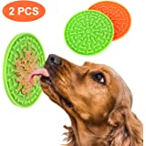 i.VALUX Lick Mat for Dog & Cat Washing Distraction Device,Slow Treat Dispensing Mat, Puzzle Slow Feeder Food Peanut Butter Lick Pad with Suction Cup to Wall for Pet Bathing,Grooming,Training(2 Pack)