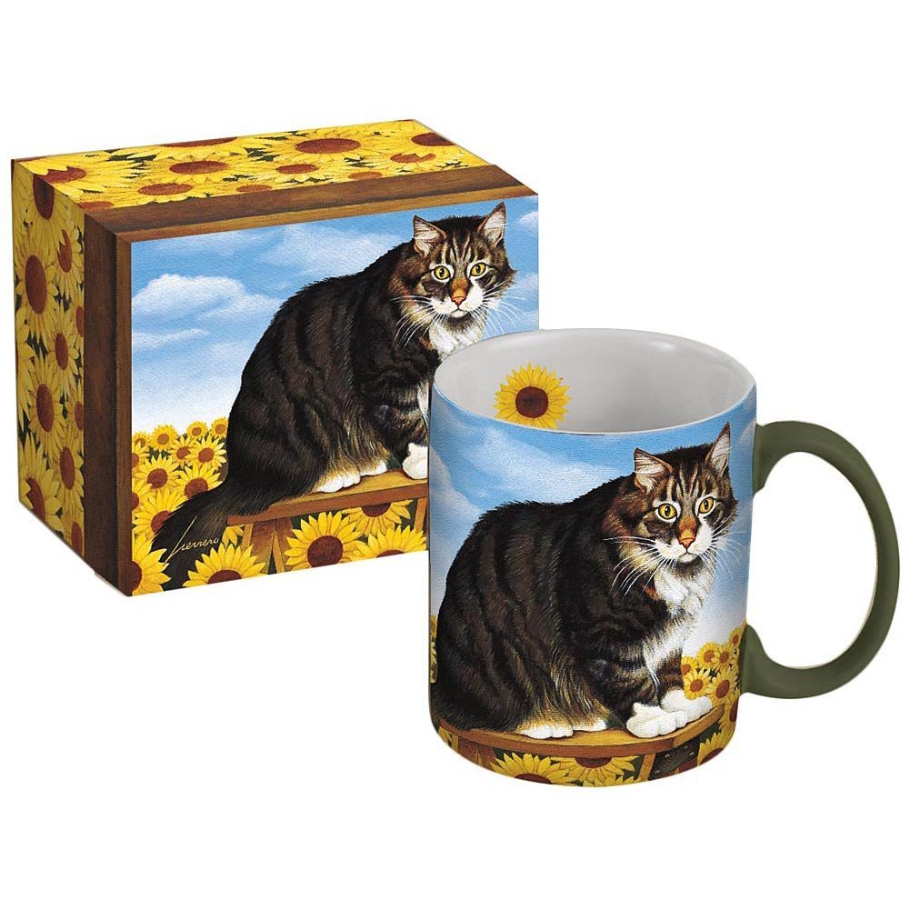 Sunflower and cat boxed mug